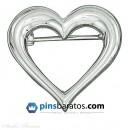 pin corazon plateado