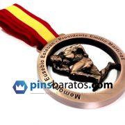 Medalla en acabado bronce antiguo, para campeonato de musculación.