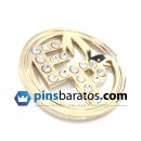 Pin de oro con diamantes y brillantes.