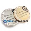 Pin de empresa de color oro y plata con diamantes. Personalizado.
