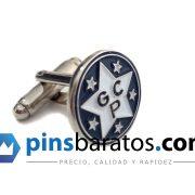 Gemelos personalizados con el logo de una estrella y con letras.