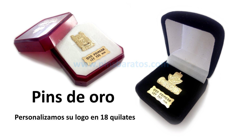 Pins de oro de 18 quilates personalizados.