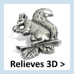 Pins de metal con relieves 3D.