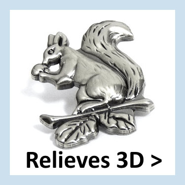 Pins de metal con relieves 3D.