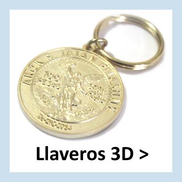 Llaveros metálicos de empresa con relieves en 3D.