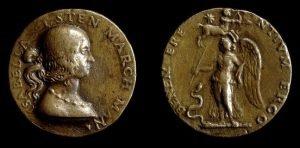 Medalla de bronce de Isabel de Este, princesa y patrona de los humanistas del Renacimiento, distribuida como un regalo.